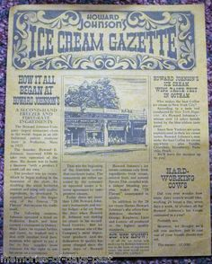 Vintage Paper HOWARD JOHNSON'S ICE CREAM GAZETTE NEWSPAPER MENU Brochure 60s