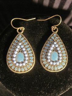 Vintage Look Antiqued Brass Gold Tone Turquoise Blue Enamel Teardrop Earrings http://r.ebay.com/Appy9b