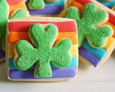 Double-Decker Rainbow Shamrock Cookies