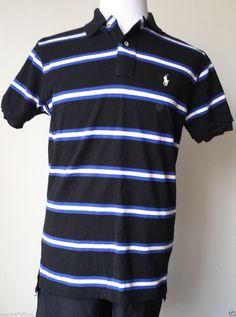 #POLO Ralph Lauren men size M short sleeve POLO shirt blue stripes RalphLauren visit our ebay store at  http://stores.ebay.com/esquirestore