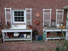 old table sink vanity | potting table with old cast iron sink