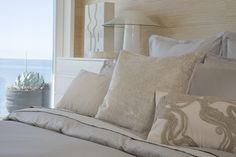 """Pillows from the 'Dune' bedding set, part of the Kelly Wearstler Luxe Bedding Collection. Featuring: Sublime Euro Sham (26"""" x 26""""), Trompe Square Decorative Pillow (20"""" x 20""""), Panache Decorative Pillow (15"""" x 26""""), Boudoir Decorative Pillow (12"""" x 16""""). Exclusive to @bloomingdales"""