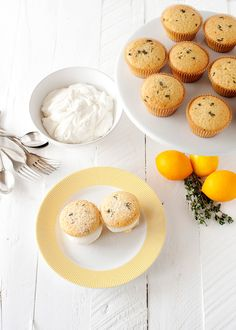 Lemon Thyme Cupcakes with Honey Cream. Have to make these soon!