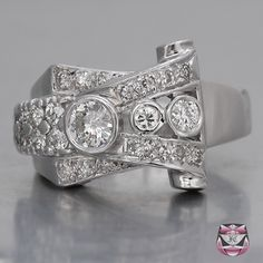 ASYMETRICAL DIAMOND RINGS | Vintage Diamond Rings - Vintage Platinum Diamond Ring