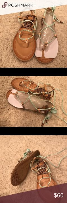 Lace up gladiator mint sandals Jute braided bottoms. Gorgeous mint color Dolce Vita Shoes Sandals
