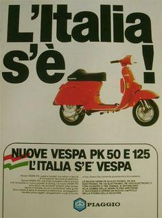 pubblicità 25 Vintage Italian, Vintage Ads, Vintage Posters, Piaggio Vespa, Vespa Lambretta, Motor Scooters, Vespa Scooters, Vespa Px 125, Best Scooter
