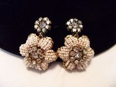 Miriam Haskell Vintage Jewelry Earrings Bead Flower Rhinestone Glass Gold Plate #MiriamHaskell #Vintage