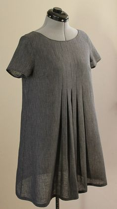 Stylish Dress Book, dress E in grey pinstriped linen shirting Stylish Dress Book, Stylish Dresses, Clothes Crafts, Sewing Clothes, Japanese Sewing Patterns, Tent Dress, Swing Dress, Make Your Own Clothes, Simple Shirts