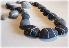 Contemporary modern necklace Unusual jewelry in paper mache Minimal long necklace Present for girlfriend stone collector Birthday gift her Paper Jewelry, Beaded Jewelry, Beaded Bracelets, Necklaces, Present For Girlfriend, Like A Rolling Stone, Unusual Jewelry, Beach Stones, Stone Jewelry