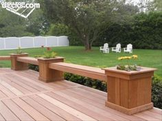 New patio deck seating planters ideas Deck Planter Boxes, Backyard Planters, Backyard Landscaping, Landscaping Ideas, Backyard Decks, Planter Bench, Planter Ideas, Deck Bench Seating, Deck Ideas With Built In Seating
