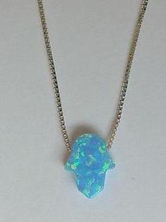 Turquoise Blue Opal Hamsa Necklace, Hamsa necklace, Blue Opal Necklace, Sterling with Opal necklace, Hand of fatima - http://evilstyle.com/turquoise-blue-opal-hamsa-necklace-hamsa-necklace-blue-opal-necklace-sterling-with-opal-necklace-hand-of-fatima