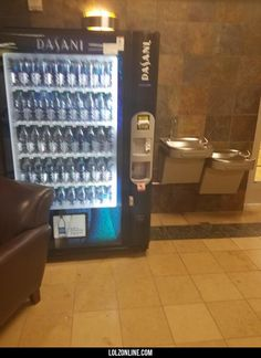 A vending machine at my gym sells water right next to free water#funny #lol #lolzonline