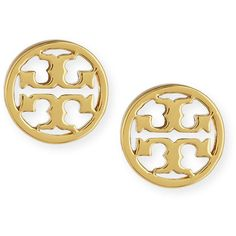 Tory Burch Logo Circle Stud Earrings ($75) ❤ liked on Polyvore featuring jewelry, earrings, tory silver, silver tone earrings, circular earrings, tory burch earrings, tory burch jewellery et american jewelry