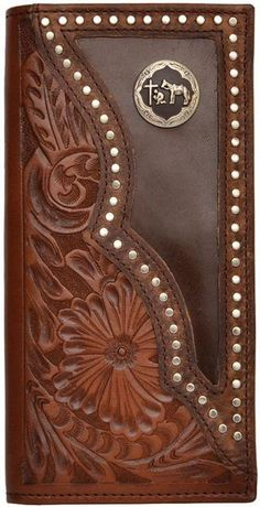 Western Brown Tooled Leather Rodeo Wallet with Praying Cowboy Concho