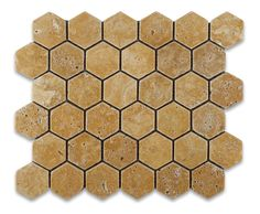 Gold / Yellow Travertine Tumbled 2'' Hexagon Mosaic Tile