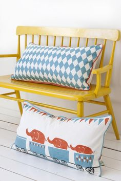 oooo I want a yellow bench pillows | circus decor  #SocialCircus