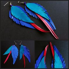 Diy Leather Feather Earrings, Diy Earrings, Earrings Handmade, Feather Cut, Colorful Feathers, Silhouette Design, Make And Sell, Leather Craft, Knitted Hats