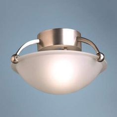 """Contemporary Brushed Steel 12"""" Wide Ceiling Light Fixture"""