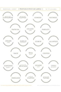 Free Printable Spice Jar Labels | www.andersonandgrant.com                                                                                                                                                                                 More
