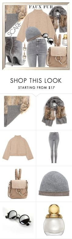 """""""Faux Fur Scarf"""" by queenofsienna ❤ liked on Polyvore featuring STELLA McCARTNEY, ATM by Anthony Thomas Melillo, Topshop, Chloé, Kinross, Pomellato and winterscarf"""