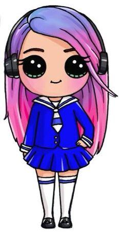 kawaii people to draw Kawaii Disney, Griffonnages Kawaii, Cute Kawaii Girl, Cute Disney, Kawaii Girl Drawings, Cute Girl Drawing, Cartoon Drawings, Draw So Cute Girl, Cute Drawings Of People