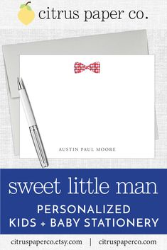 Personalized stationery, just for kids! Each set of flat note cards is printed on high-quality white cardstock, includes your choice of envelopes, and is packaged in a crystal clear box. Perfect for casual correspondence or thank you notes, these note cards make the perfect gift! \\ boys stationery \\ kids stationery \\ bowtie \\ little man \\ baby boy shower \\ baby shower \\ gingham Personalized Stationary, Stationary Set, Personalized Note Cards, Personalized Baby, Kids Stationery, Baby Shower Thank You Cards, Papers Co, Little Man, Baby Boy Shower