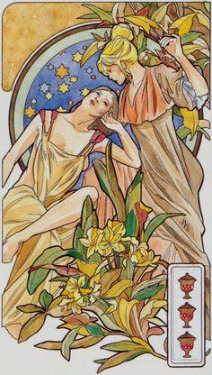 3 de coupes - Tarot art nouveau par Antonella Castelli
