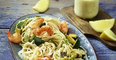 The best Prawn, courgette and lemon sauce spaghetti recipe you will ever find. Welcome to RecipesPlus, your premier destination for delicious and dreamy food inspiration. Pasta With Lemon Sauce, Healthy Food Choices, Healthy Recipes, Prawn Recipes, Healthy Chicken Dinner, Oven Dishes, Zucchini Pasta, Chicken Cutlets, Spaghetti Recipes