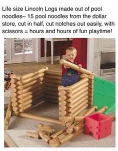 Lincoln logs made from pool noodles. Lincoln logs made from pool noodles. Kids Crafts, Projects For Kids, Diy For Kids, Diy Projects, Easy Crafts, Kids Fun, Summer Crafts, Toddler Fun, Toddler Activities