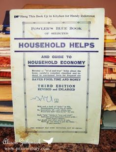 Fowler's Blue Book Of Selected Household Helps and Guide to Household Economy