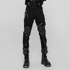 2032d5f8e23435 Men's Grommet & Zip Punk Pants $103 Leather patches on the knee and  strategically placed