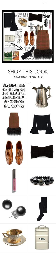 """English Tea Time"" by bitsygirlc ❤ liked on Polyvore featuring Prada, Alexis, Grenson, Shiraleah, Chantecaille and MANGO"