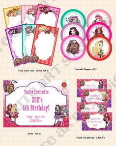 Ever After High birthday package by CuteArtStudios on Etsy, $18.00