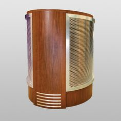 MELC-32 Ellipse Lectern in Walnut with Stainless Steel Laminate Trim. This lectern combines the modern look of the Ellipse Style with the Retro look of the Stainless trim. #StainlessSteel #Lectern #Custom #Infocomm2012