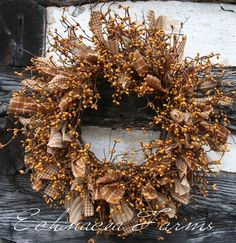 PRIMITIVE RAG & BERRY WREATH For me it lacks color so I'd add red berries!