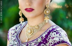 Indian Wedding Pearl and Gold Jewelry Set by Belsi's Collection. Buy here - http://www.indianweddingsite.com/dazzling-jewelry-fashion-shoot-featured-vendor-belsis-collection/