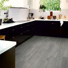 Urban Grey Oak is a dark grey laminate floor with Dark Grey Laminate Flooring, Vinyl Flooring Kitchen, Types Of Wood Flooring, Oak Laminate Flooring, Solid Wood Flooring, Espresso Cabinets, Italian Tiles, Grey Oak, Grey Slate