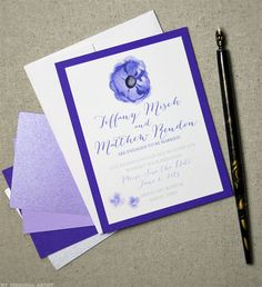 Purple save the date cards with anemone flowers by My Personal Artist. www.mypersonalartist.com