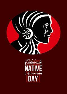 Celebrate Native American Day Retro Poster Card by patrimonio