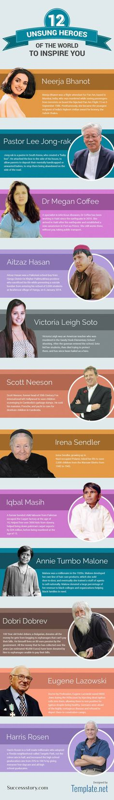 Unsung Heroes of the World to Inspire you #infographic #Heroes #History