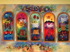 tapestry on our synagogue wall...looks like Chagall