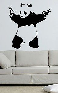Banksy Style Panda with Guns Wall Art Sticker Mural Giant Large Decal Vinyl W x H * You can get more details by clicking on the image. Animal Wall Decals, Wall Stickers Murals, Banksy Graffiti, Panda, Guns, Wall Art, Animals, Image, Home Decor