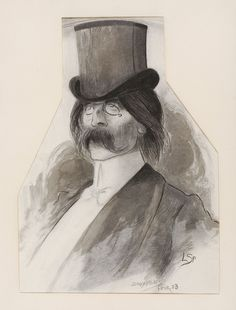 Léon Spilliaert (Belgique, 1881-1946) – Portrait de Jules Barbey d'Aurevilly (1903) Dessin à la plume et au pinceau à l'encre de Chine et au crayon