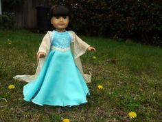 """American Girl or 18"""" doll costume, Frozen, Elsa,Disney inspired Frozen dress, Snow Queen,"""