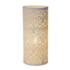 Lampe décorative à poser en céramique blanche ajourée H28cm