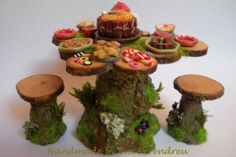 Picnic table for garden 1/12th dollhouse / Witch / Fairy/ OOAK