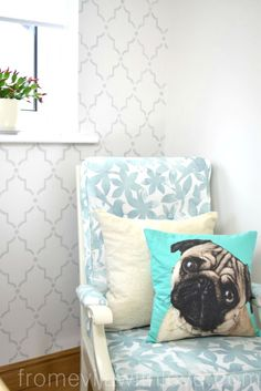 DIY Craft Room, Office and Blogging Space. See the full tutorial on the blog - Marrakech Stencil Wall, Gallery Wall, DIY chalk painted furniture - From Evija with Love. Upholstered chair, pug cushion
