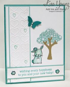 Stampin' UP! Made with Love stamp set. Baby card in shades of blues. Handmade baby card by Lisa Young, Add Ink and Stamp