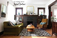At Home With Rachel Denbow - 2 mismatched couches, mid-century pieces, a fireplace, and lots of awesome.