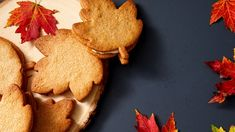 A double dose of maple sets these leaf-shaped sandwich cookies apart: maple sugar goes into the buttery shortbread dough, and maple syrup sweetens the rich cream filling. Filled Cookies, Cookies And Cream, Maple Leaf Cookies, Cookie Recipes, Dessert Recipes, Candy Recipes, American Cookie, Pbs Food, Maple Cream